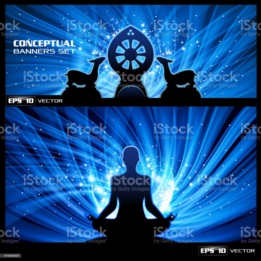 Buddhist meditation banner vector art illustration