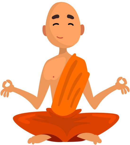ilustraciones, imágenes clip art, dibujos animados e iconos de stock de personaje de dibujos animados de monje budista sentado en meditación en vector ilustración de la túnica naranja sobre un fondo blanco - hermano