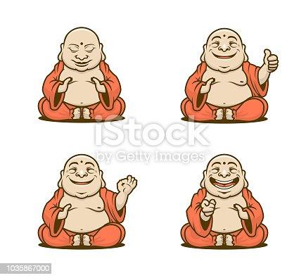 istock Buddhist monk cartoon characters vector set 1035867000
