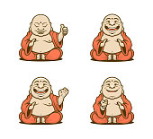 Vector set of cartoon Buddhist monks characters in traditional robes with various emotions and gestures