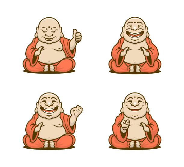 stockillustraties, clipart, cartoons en iconen met boeddhistische monnik cartoon tekens vector set - boeddha
