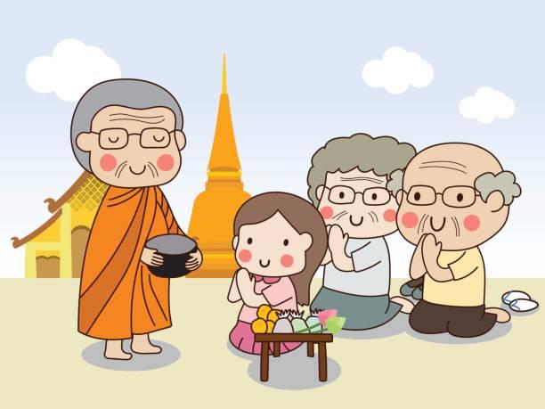 ilustraciones, imágenes clip art, dibujos animados e iconos de stock de limosna de celebración budista monk del tazón de fuente para recibir el alimento de muchacha con el templo - hermano
