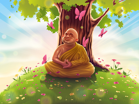 Buddhist monk in deep Samadhi meditation in yellow clothes sits under the bodhi tree. Yogi Buddha in concentration on retreat, enlightened teacher, relaxation in nature.