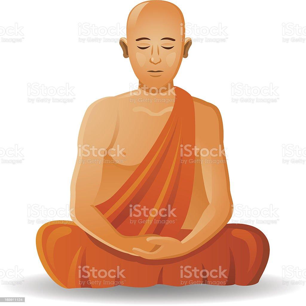 Monje budista - ilustración de arte vectorial