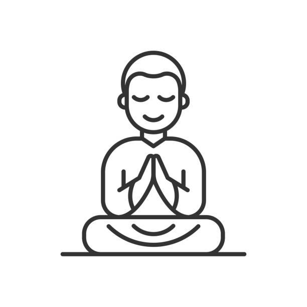 ilustraciones, imágenes clip art, dibujos animados e iconos de stock de monje budista en túnicas naranja sentado en meditación - hermano