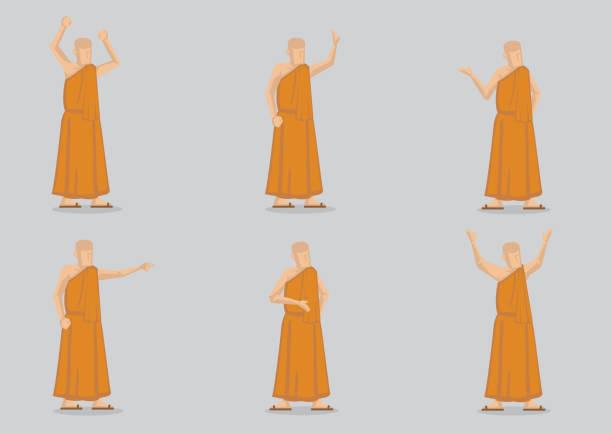 buddhistischer mönch in yellow robe vector charakterabbildung - eisenhut stock-grafiken, -clipart, -cartoons und -symbole