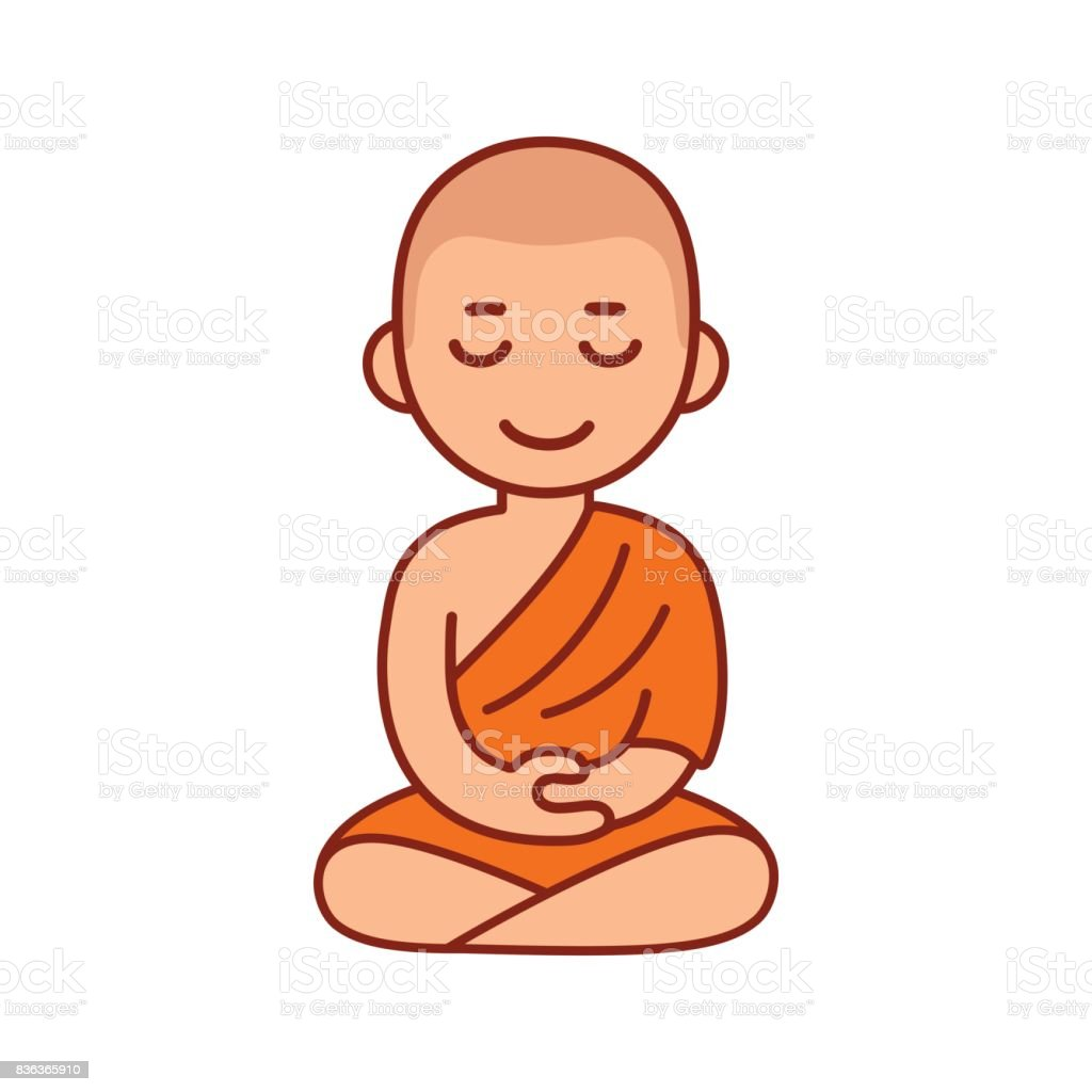 Buddhist monk meditating vector art illustration