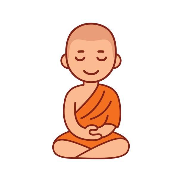 Buddhist monk meditating vector art illustration
