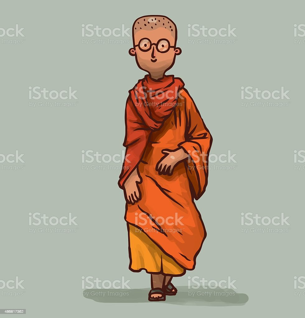Buddhist monk young, walking vector art illustration