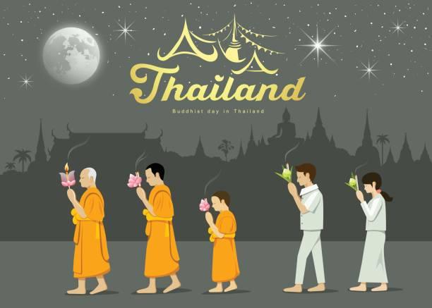ilustraciones, imágenes clip art, dibujos animados e iconos de stock de adoradores de monjes y gente budista en importante - hermano