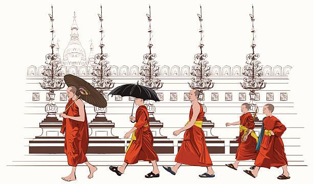 ilustraciones, imágenes clip art, dibujos animados e iconos de stock de monjes budistas caminando en un templo - hermano