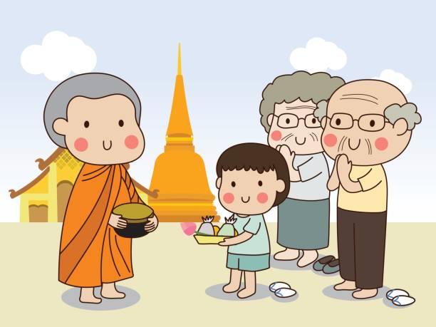 ilustraciones, imágenes clip art, dibujos animados e iconos de stock de limosna de explotación novicio budista del tazón de fuente para recibir alimentos de muchacho con templo - hermano