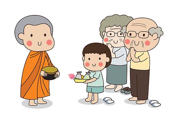 ilustraciones, imágenes clip art, dibujos animados e iconos de stock de buddhist novice holding alms bowl to receive food offering. - hermano