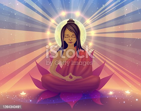 Buddhist sits in deep meditation and concentration in a state of samadhi, yogi, ascetic doing retreat, saint, enlightened, awakened buddha, satsang teacher in orange clothing vector illustration.