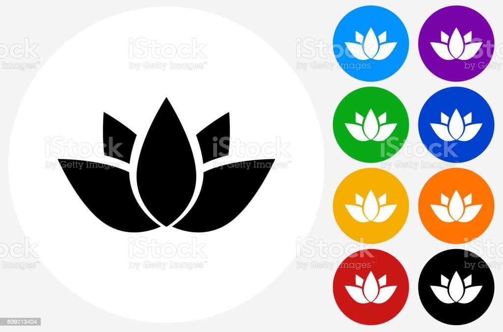 Buddhist Symbol Icon on Flat Color Circle Buttons vector art illustration
