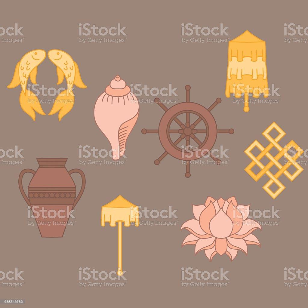 Buddhist Symbolism The 8 Auspicious Symbols Of Buddhism Stock Vector