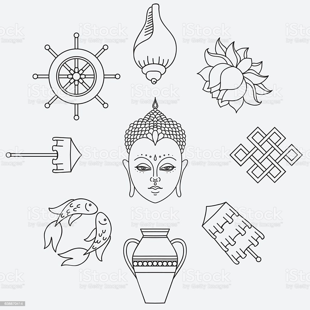 Buddhist Symbolism The 8 Auspicious Symbols Of Buddhism Stock Vector