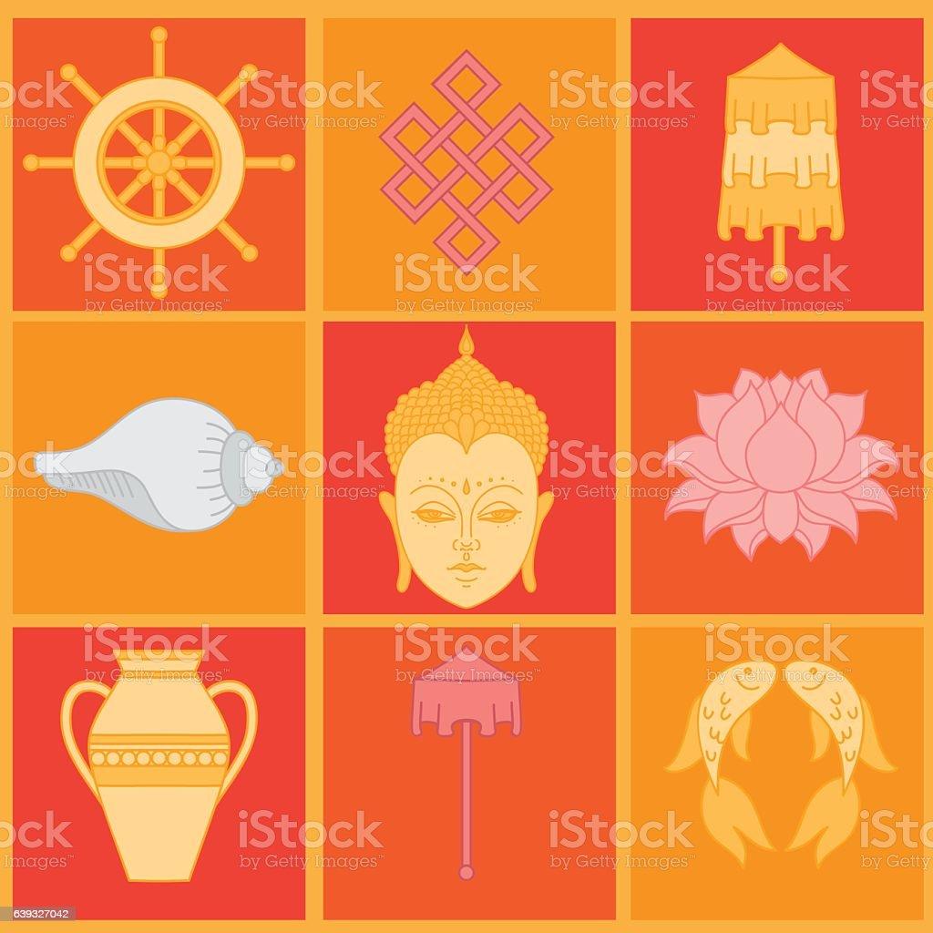 Buddhist symbolism the 8 auspicious symbols of buddhism stock buddhist symbolism the 8 auspicious symbols of buddhism royalty free buddhist symbolism the biocorpaavc