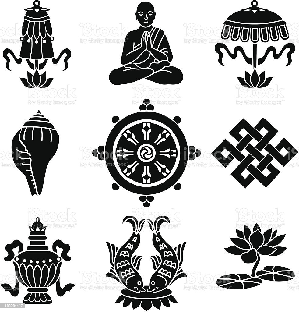 Buddhist Symbols Stock Vector Art More Images Of Animal Shell