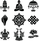 Vector icons of the eight Buddhist treasures.