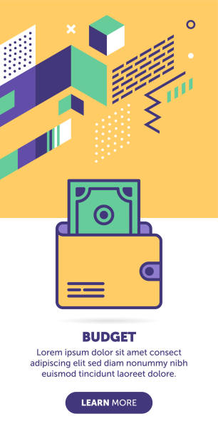 Budget Banner Wallet with money vector banner illustration also contains icon for the topic. budget backgrounds stock illustrations
