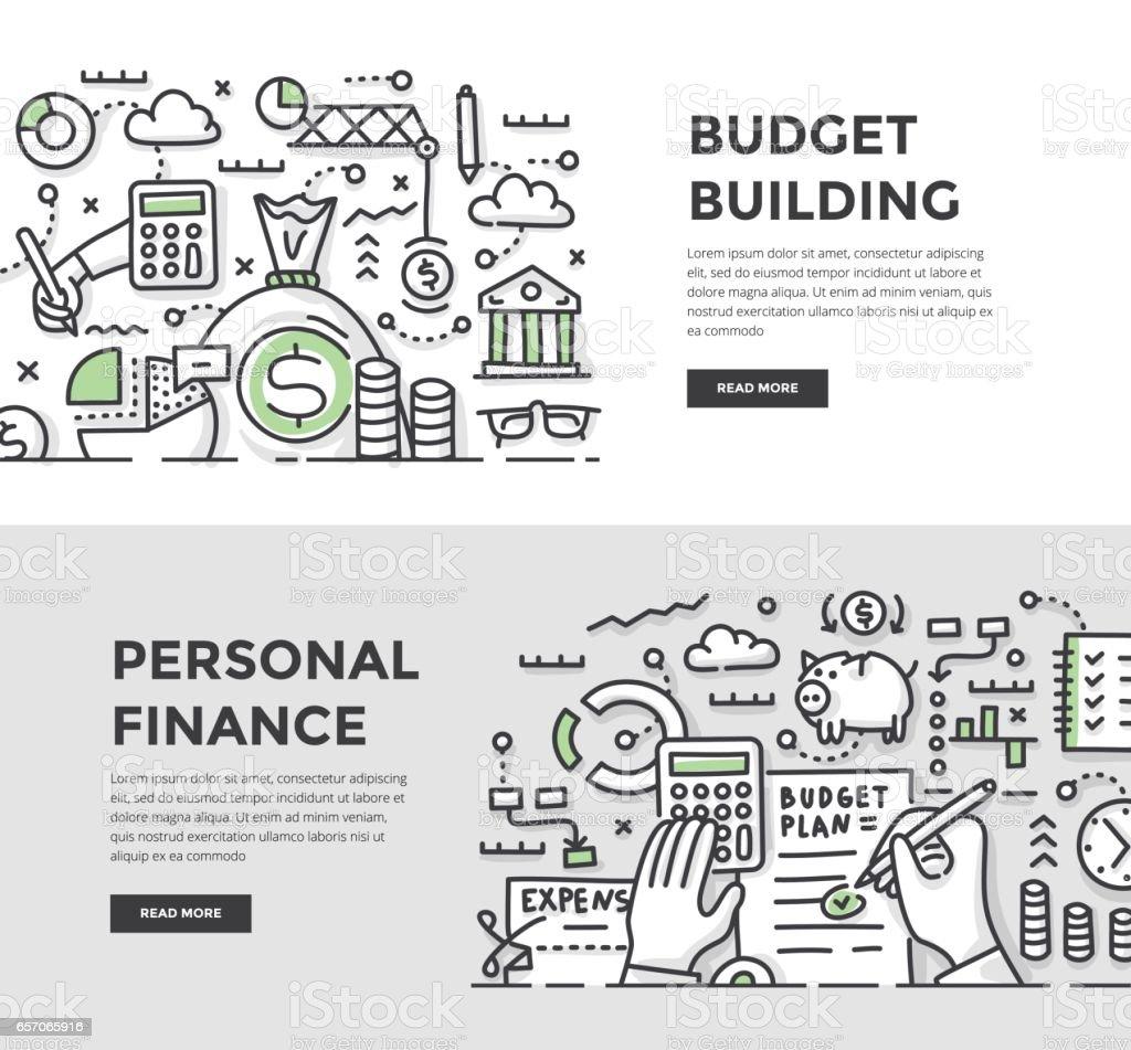 ilustración de construcción de presupuesto y finanzas personales