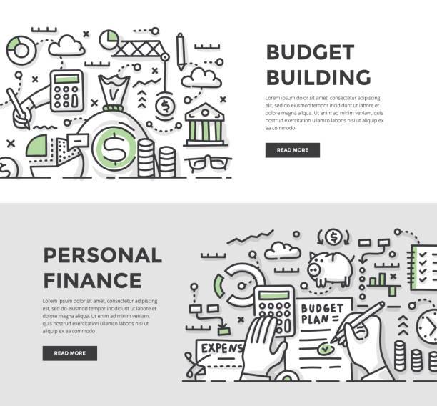 Budget construction & bannières Doodle finances personnelles - Illustration vectorielle