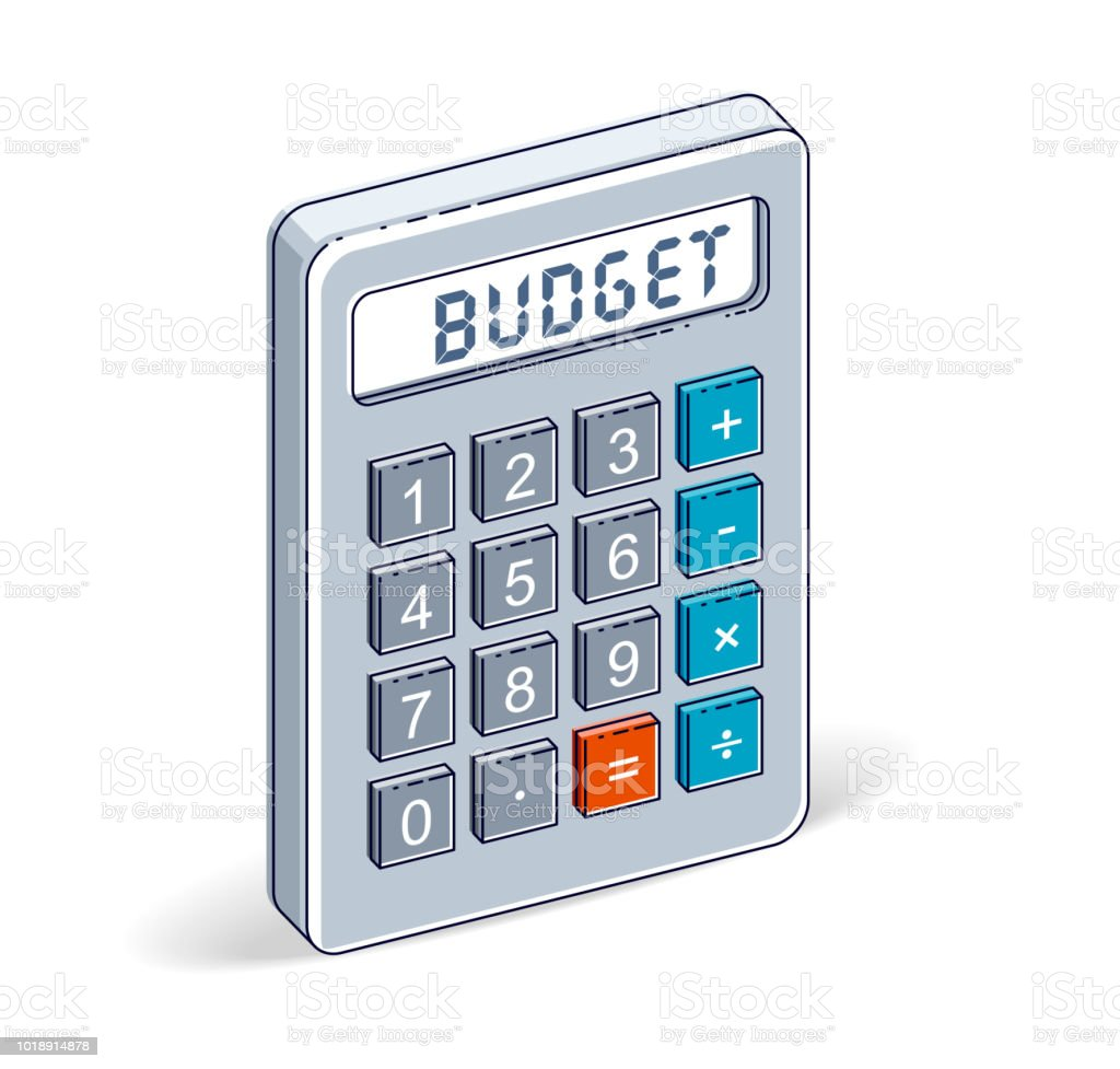 budget concept calculator with budget lettering isolated on white