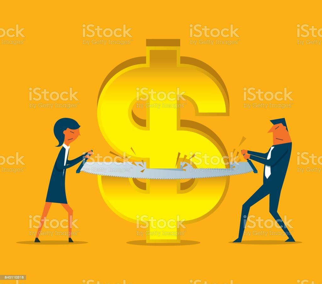 Budget cut with Business person vector art illustration
