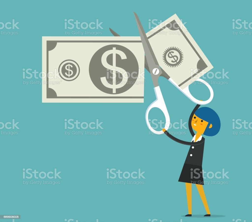 Budget cut with Businesswoman vector art illustration