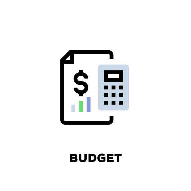 Budget Line Icon Budget Line Icon budget stock illustrations