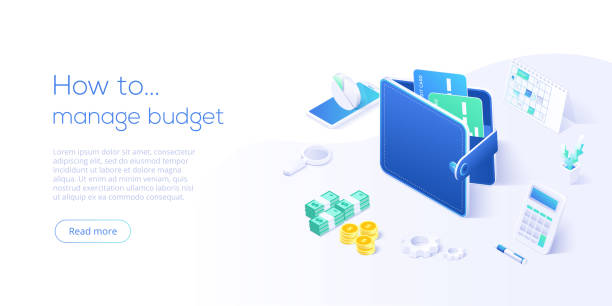 Budget management concept in isometric vector illustration. Money economy background with billfold and calculator. Profit or revenue analysis as part of accounting. Web banner layout template. Budget management concept in isometric vector illustration. Money economy background with billfold and calculator. Profit or revenue analysis as part of accounting. Web banner layout template. budget backgrounds stock illustrations