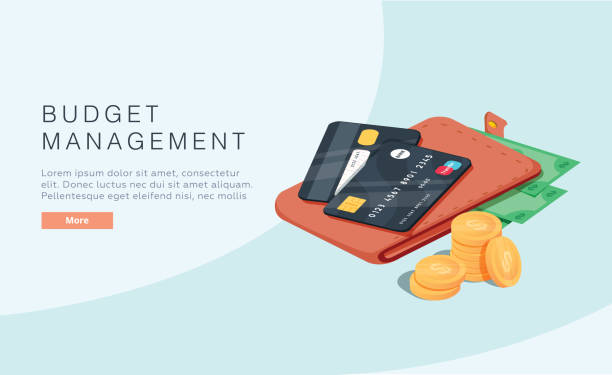 budget management concept in isometric vector illustration. money economy background with billfold profit or revenue - płacić stock illustrations