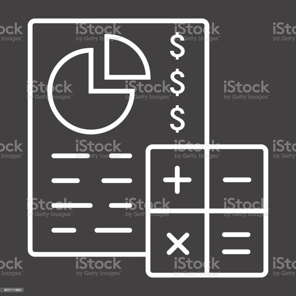 Budget planing line icon, business and finance, calculate sign vector graphics, a linear pattern on a black background, eps 10. vector art illustration