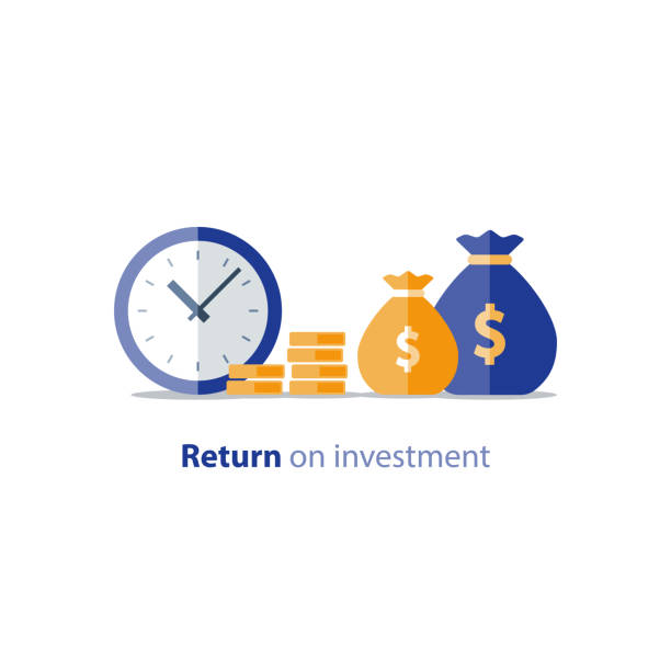 Budget planning, time is money, expenses concept, accounting report, income growth, revenue increase Cash advance, provide money, financial period, annual payment, income growth, finance productivity, return on investment, budget planning, accounting concept, audit report, vector flat icon time is money stock illustrations