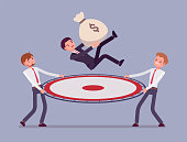 Budget saving net. Young businessmen catching a person jumping with money sack, financial service help to keep business, income safe, rescue from risks, danger. Vector flat style cartoon illustration