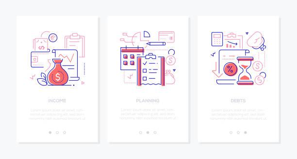 Budget - vector line design style web banners vector art illustration