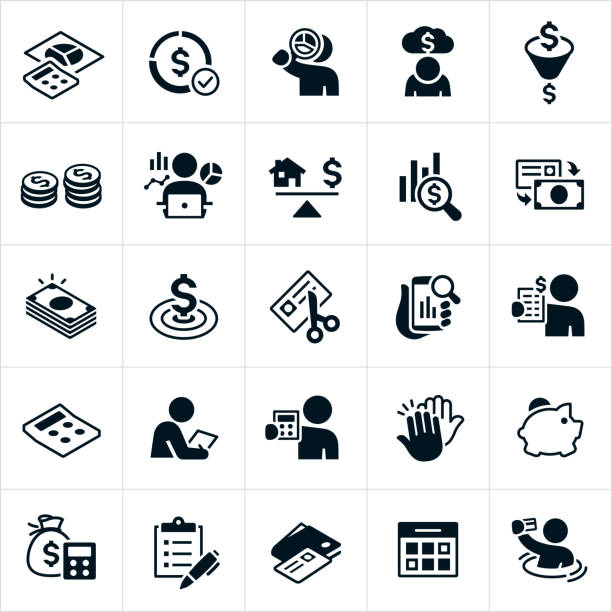 Budgeting Icons A set of budgeting icons. The icons include people setting a budget, calculator and pie chart, debt, money allocation, money, currency, charts and graphs, cutting credit card, spending, financial goals, analyzing finances, high five, savings and a calendar to name just a few. budget stock illustrations