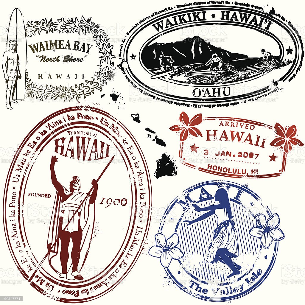 Bue Hawaii vector art illustration