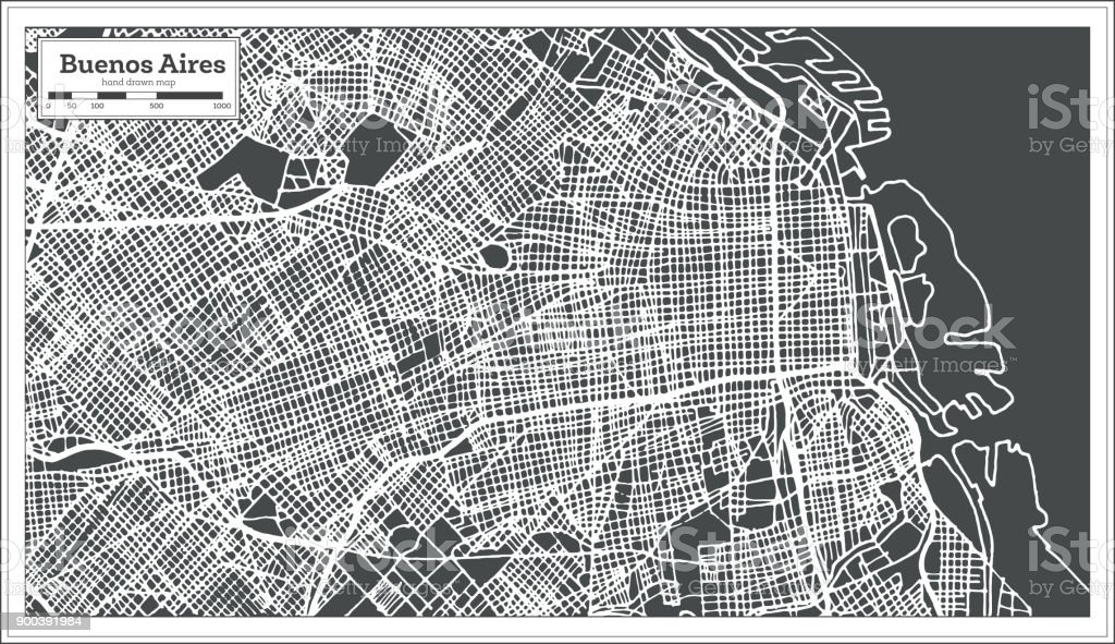 Buenos Aires Argentina City Map in Retro Style. Outline Map. vector art illustration