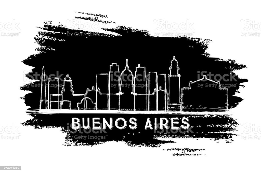 Buenos Aires Argentina City Skyline Silhouette. Hand Drawn Sketch. vector art illustration
