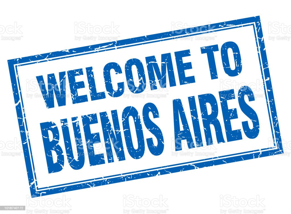 Buenos Aires blue square grunge welcome isolated stamp vector art illustration