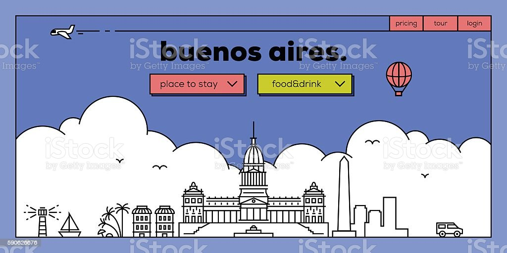 Buenos Aires Modern Web Banner Design with Vector Linear Skyline vector art illustration