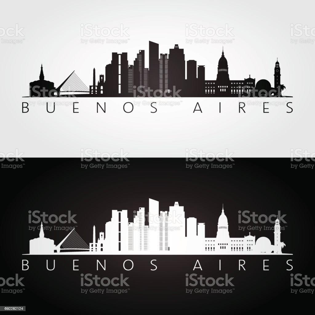 Buenos Aires skyline and landmarks silhouette, black and white design, vector illustration. vector art illustration
