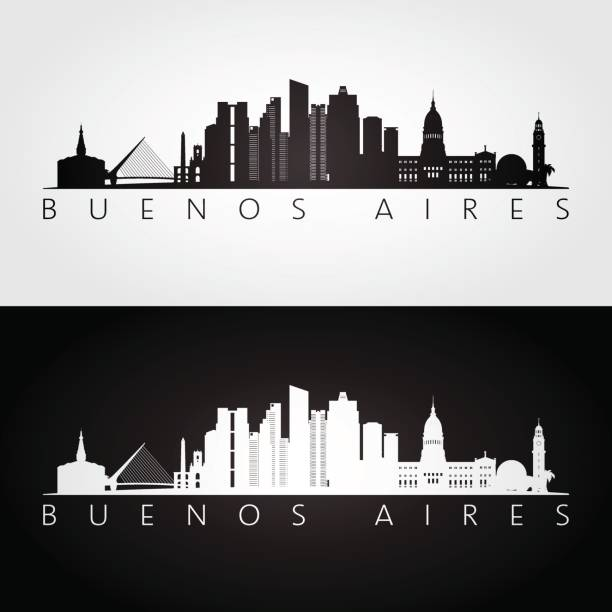 illustrations, cliparts, dessins animés et icônes de buenos-aires skyline et repères silhouette, noir et blanc design, illustration vectorielle. - argentine
