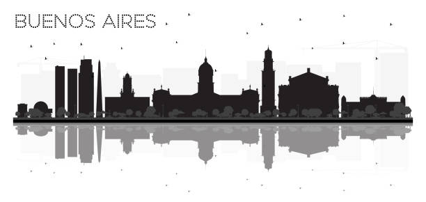 Buenos Aires skyline black and white silhouette with reflections. vector art illustration