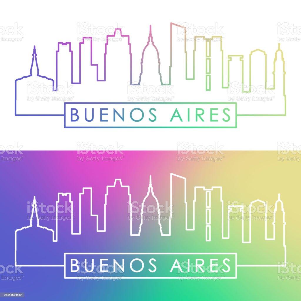 Buenos Aires skyline. Colorful linear style. Editable vector file. vector art illustration