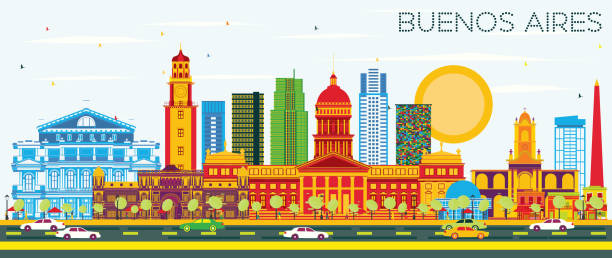 Buenos Aires Skyline with Color Landmarks and Blue Sky. vector art illustration