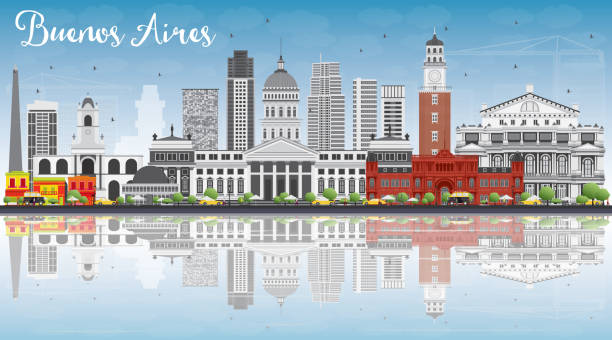 Buenos Aires Skyline with Color Landmarks, Blue Sky and Reflecti vector art illustration