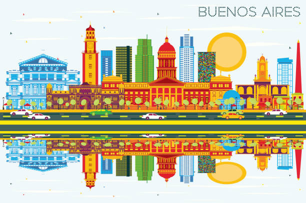 Buenos Aires Skyline with Color Landmarks, Blue Sky and Reflections. vector art illustration
